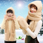 Hat scarf and gloves three piece one winter scarf lady lovely children's thick warm students Han Banchao