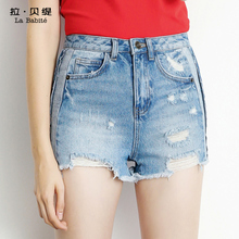 High waisted holes shorts 2017 autumn new fashion leisure Korean student Wide Leg Jeans Shorts children tide