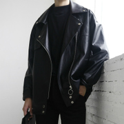 GD with a simple oversize Korean male leather loose short jacket coat young couples dress tide
