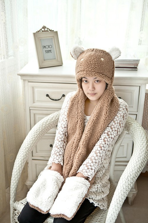 Best selling Korean scarf, hat, gloves, one cute, brown rabbit, double thickening, warm three sets, send girls
