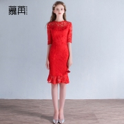 In the spring of 2017 bride toast clothing cheongsam wedding dress new small female engagement back short red dress