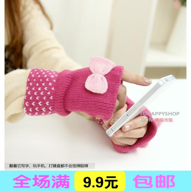 冬季保暖韩版办公甜美可爱蝴蝶结键盘露指加厚半指手套女士毛线
