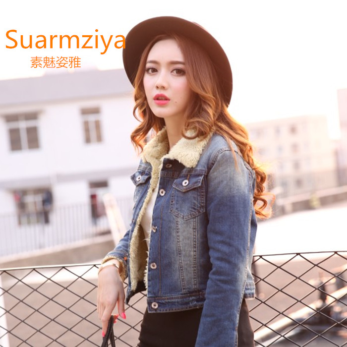 New winter coat women's clothing han edition cultivate one's morality show thin joker cotton-padded jacket female add wool cowboy lambs wool cotton-padded clothes