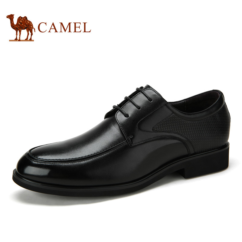 Camel men's summer men's business dress shoes male leather shoes mens British summer round tie soil