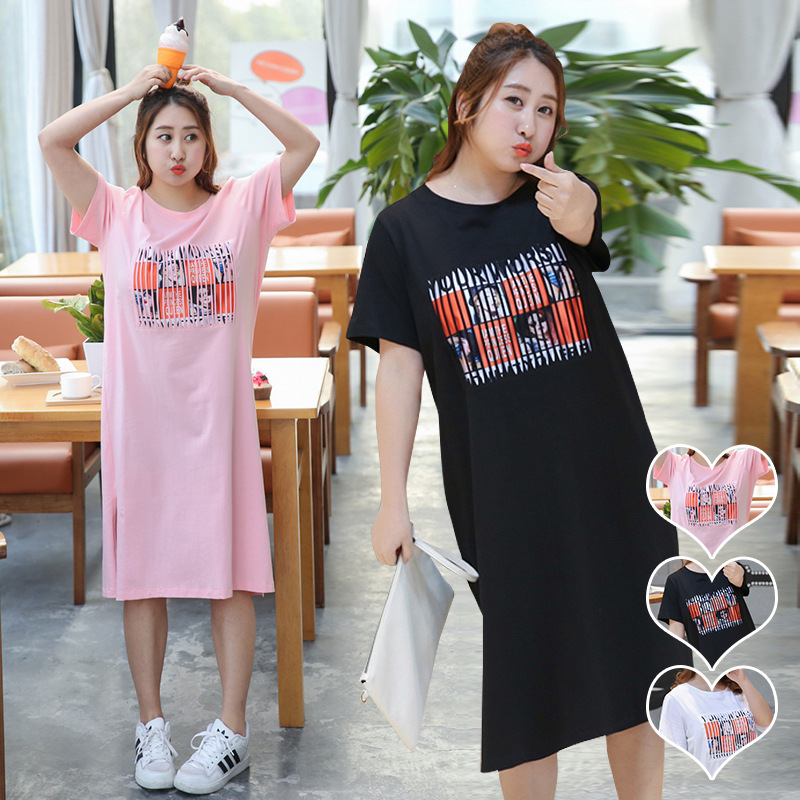 The new spring and summer large size women fat mm long short sleeved t-shirt female T-shirt -6052 hollow printing bar cutting