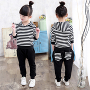 Kids Girls spring set 2017 new Korean baby children's sports two piece spring girl clothes