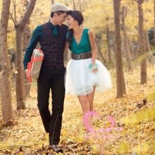 Exhibition new photo studio, clothing theme, wedding dress, green skirt, lovers photo, location photo dress