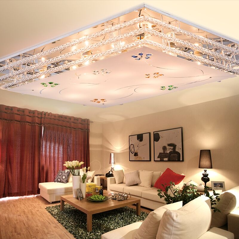 Modern simple LED ceiling lamp, ceiling lamp, rectangular crystal lamp, living room lamp, room lamp