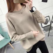 Snow Ling new winter sweater loose collar female Korean winter, long sleeved all-match bottoming sweaters