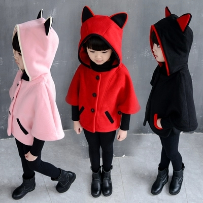 Girls cape coat new winter baby children's clothing han edition children cotton-padded jacket with thick coat