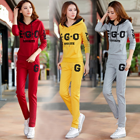 Early autumn new hooded YD sport suits women spring and autumn Korean fashion casual pants long sleeve sweater twin set