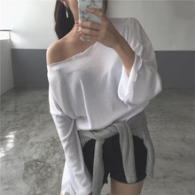 South Korea relaxed simple lazy wind Strapless thin long sleeved Pullover Sweater sunscreen clothing female summer blouse T-shirt