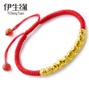 Eason edge baby 999 24K gold transport Bead Bracelet female Passepartout red string bead lucky year of fate