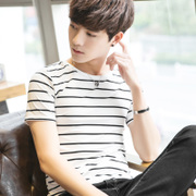 Summer men's short sleeve T-shirts, men's Korean shirts, neck stripes, half sleeves, T-Shirts, prints, self-cultivation, clothes, tide