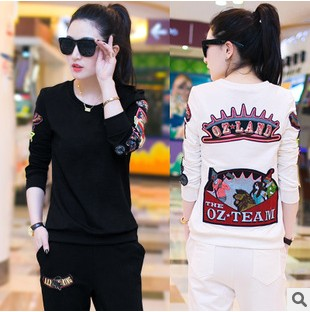 2015 new female casual fall and winter sport XL set cotton and cashmere sweater twin set fashion slimming