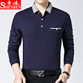 Broken code clearance middle-aged men's long-sleeved T-shirt in the elderly lapel shirt bottoming polo shirt dad loaded