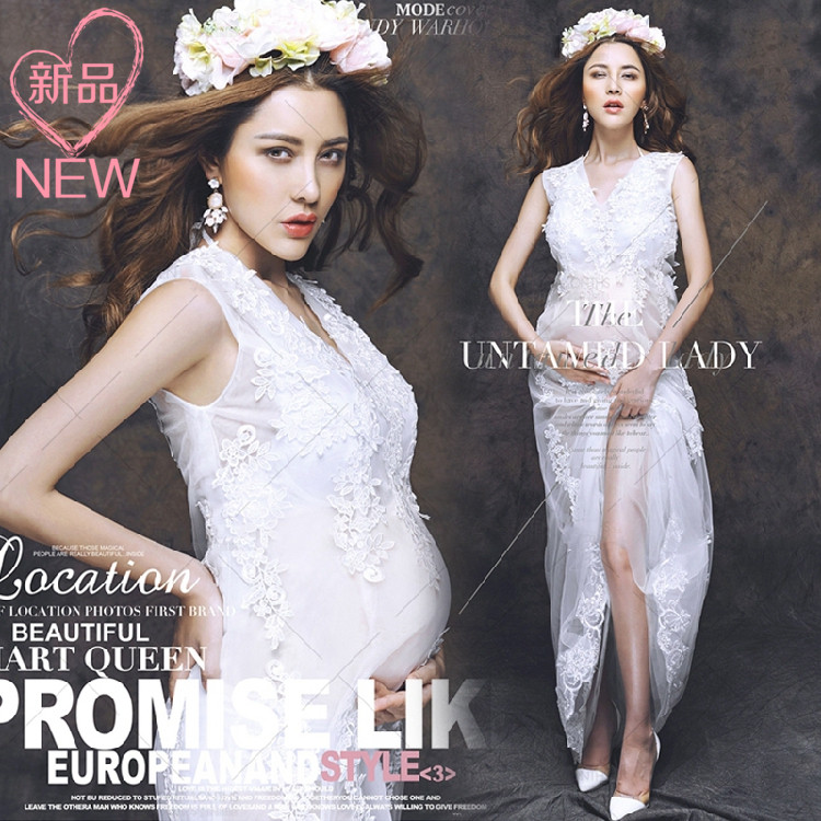 Rent photo studio pregnant women take pictures photography 2015 theme maternity dress sexy perspective lace wedding dress