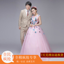 2017 exhibition theme wedding studio, clothing lovers photo, art photography, pink sticky flower dress new style