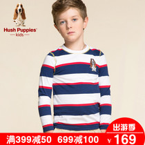 Wear Hush Puppies boys cotton t-shirt fall winter 2016 new stripe shirt large boys fashion long sleeve t shirt