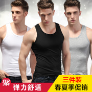 Lycra vest vest vest - solid modal male summer slim type shirt