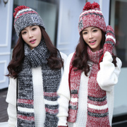Hat scarf glove three suit female winter warm Korean Fashion Scarf Hat one birthday gift