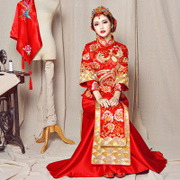 The bride wedding dress clothing Xiu he pleased Chinese style wedding dress show kimono dress coat toast suit a dragon in autumn and winter