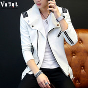 The young men's spring and winter motorcycle leather jacket thick Pu Korean slim Metrosexual personality jacket