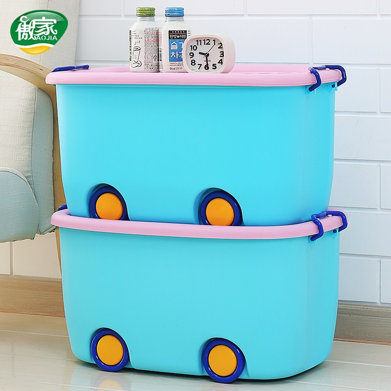 Cartoon bin plastic covered large wheeled the baby clothes sorting box child snacks toy store content box