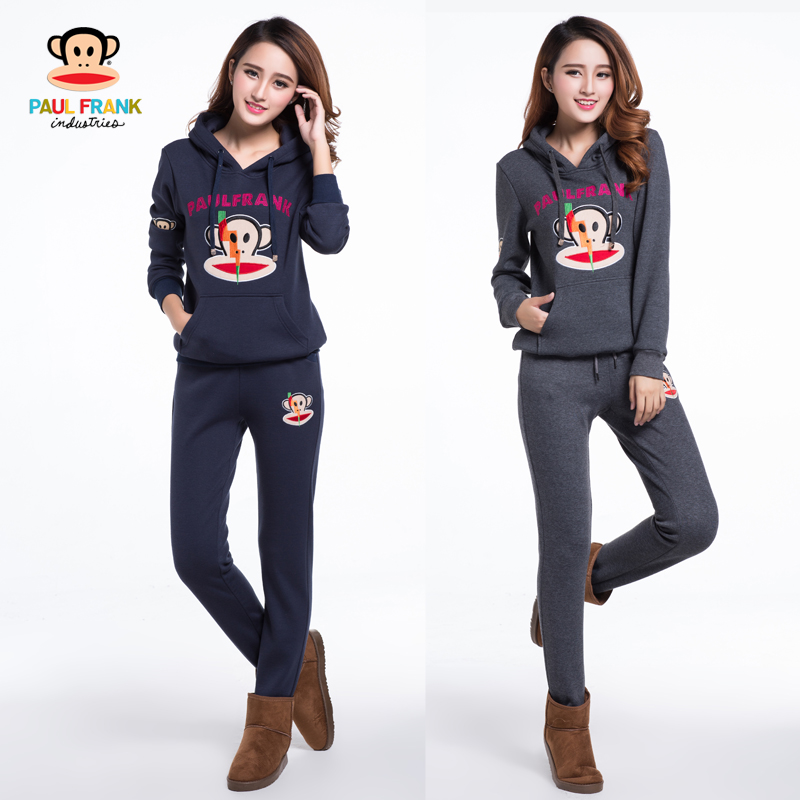 Authentic Paul Frank women autumn and winter plus set down thick Korean loose Hoodie plus size sweater suit female guardian pants