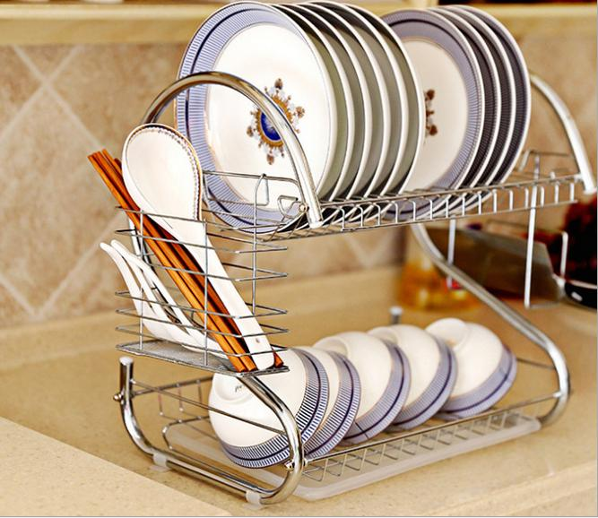 Wang Honghui shop new type 304 stainless steel s-type drain with double multifunctional kitchen dish rack