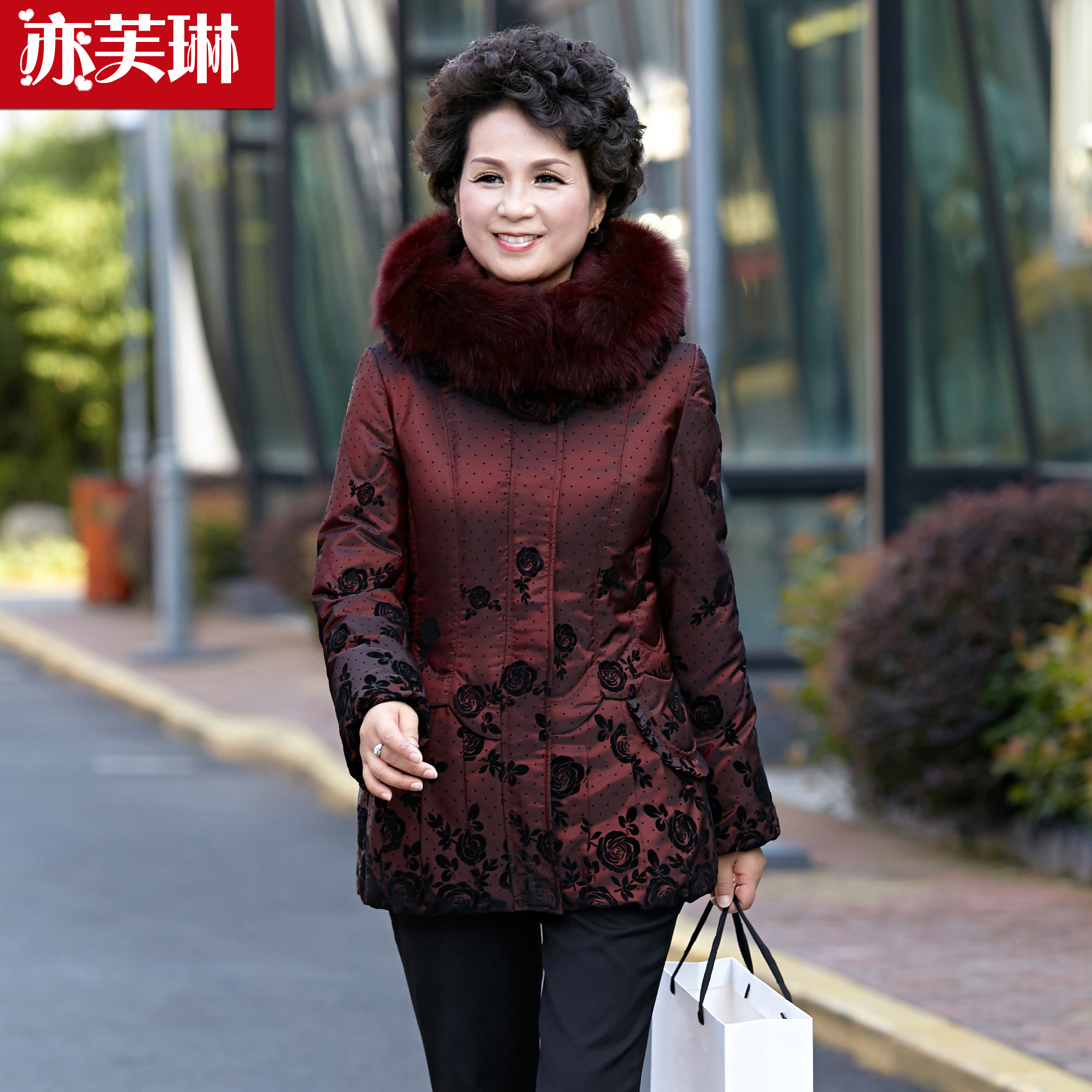 Winter new old down jacket female thickening mother big yards short down jacket dress tailored coat thickness