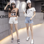 Denim shorts female waist 2017 new summer fashion Korean all-match slim hole cheap white hot pants