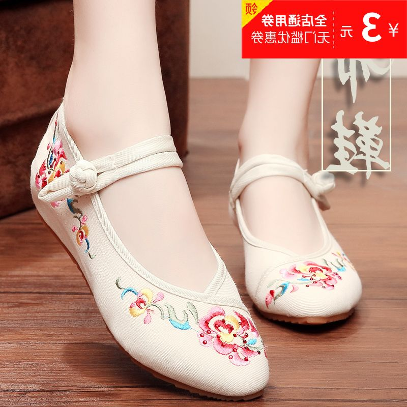 Daughter Flower pointed old Beijing embroidered shoes Chinese wind chinese clothing shoe shoes female dance shoes antique slope heel shoes