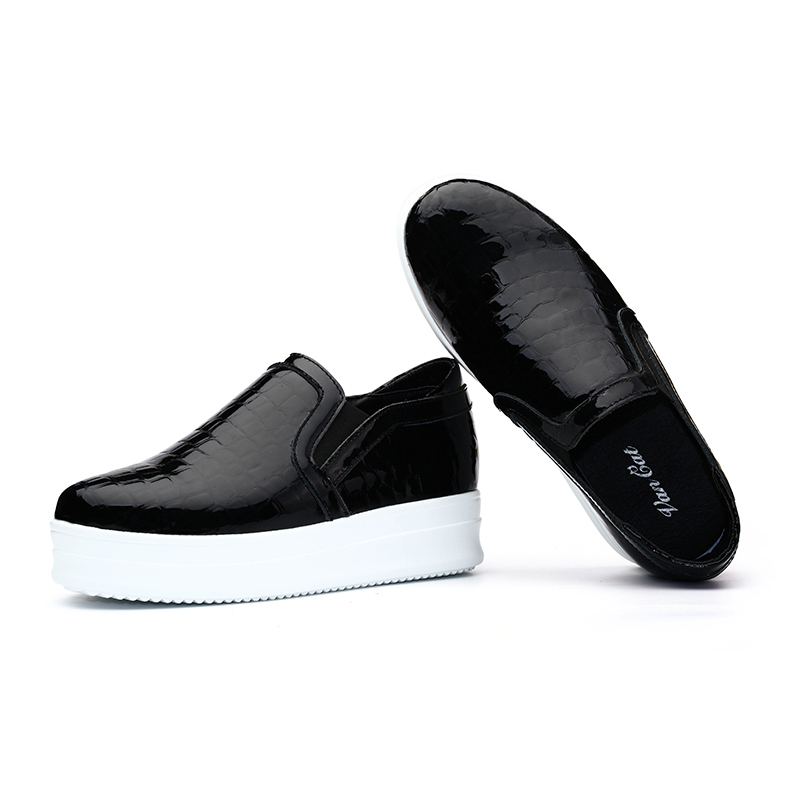 15 han edition qiu dong female flat-bottomed leather loafers large base sponge increased within single shoes leisure a pedal lazy people