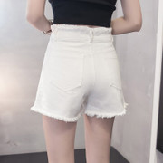 Flash of summer female Korean students high waisted shorts denim shorts loose wide leg slim 2017 new white shorts