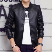 Men's leather jacket, autumn and winter plus thickening leather jacket, young men's motorcycle Korean version of self-cultivation leisure men's clothing