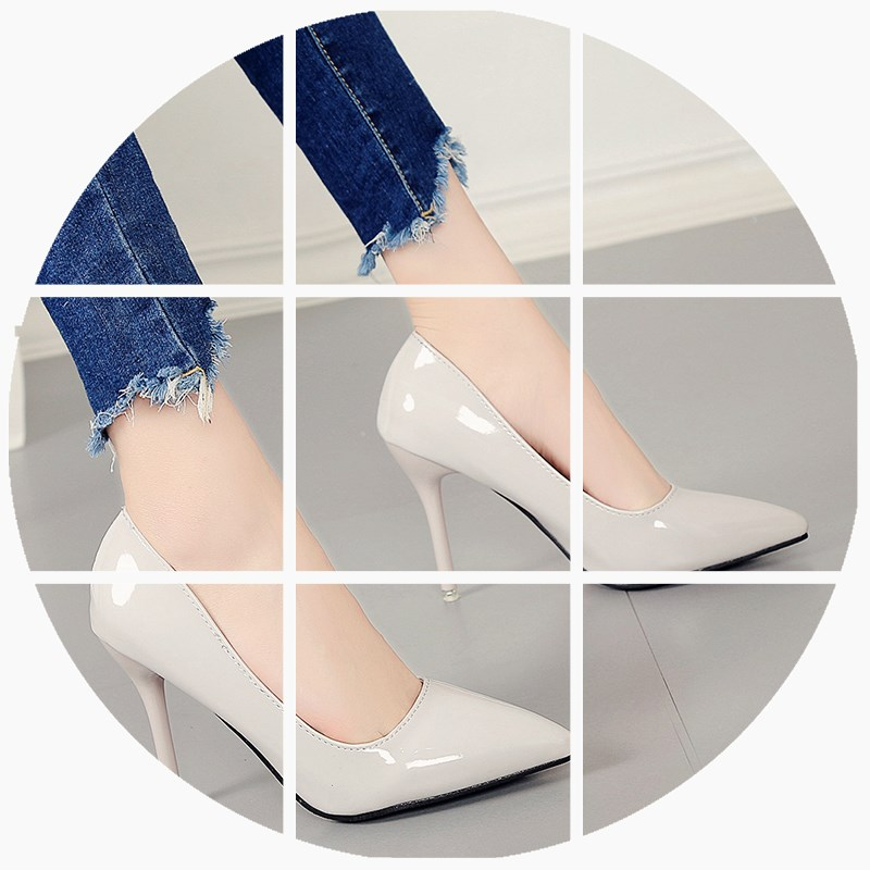 High heels female 2017 spring new 10cm pointed fine with 33 yards 43 yards of leather shoes Asakuchi sexy ol