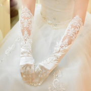 The bride wedding floral lace luxury Beaded gloves that winter gloves long wedding wedding dress accessories