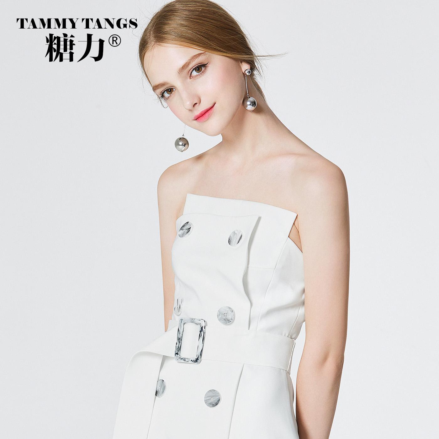 糖力春装新款欧美女装白色无袖连衣裙显瘦系带抹胸礼服露肩A字裙