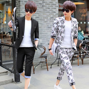 Summer sleeve suit, male Korean version, slim youth night club, seven point sleeve, small suit, short sleeved student coat