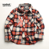 Sanding of high quality childrens clothing boys shirt-cotton Plaid flannel shirt parent-child up to 2015