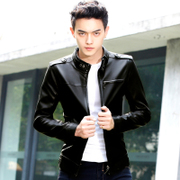 2017 new men's leather jacket and a thin section of handsome young Korean men's coat slim tide locomotive