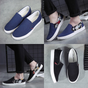 Spring canvas shoes pedal shoes shoes men lazy breathable low all-match men's casual shoes.
