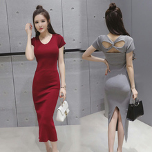 2017 summer new Korean fashion simple all-match hollow backless slim slim split knit dress female