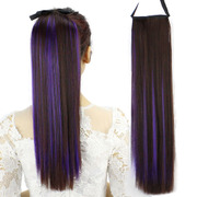 Pick a long wig ponytail dyed girls straight hair wig tail hair tied type simulation Ponytail Hair Extensions lifelike