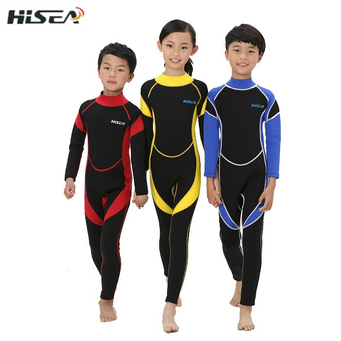 HISEA2017 children long sleeve surfing Siamese swimsuit warm diving suit body ultraviolet sunscreen diving suit 5