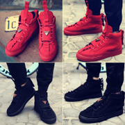 Winter cotton shoes with Korean men high shoes nubuck leather shoes boots red shoes men's casual male lovers