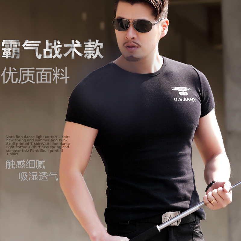 Pure cotton black hawk tight t-shirts men round collar stretch absorbent fan of cultivate one's morality shirt army tactical combat uniform the special short sleeves
