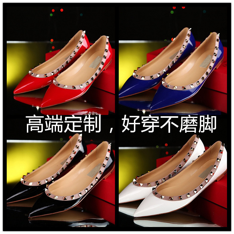 Europe and the United States v home hot pepper rivet pointed shallow mouth single flat shoes leather shoes big yards flat shoes red wedding shoes