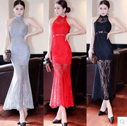 New spring and summer 2017 sexy Strapless halter neck waist lace fishtail dress dress bag hip Perspective